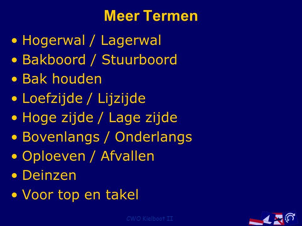 CWO Kielboot II59 Meer Termen Hogerwal / Lagerwal Bakboord / Stuurboord Bak houden Loefzijde / Lijzijde Hoge zijde / Lage zijde Bovenlangs / Onderlangs Oploeven / Afvallen Deinzen Voor top en takel
