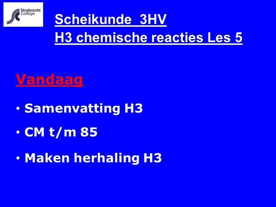 Scheikunde 3HV H3 chemische reacties Les 5 Vandaag Samenvatting H3 CM t/m 85 Maken herhaling H3