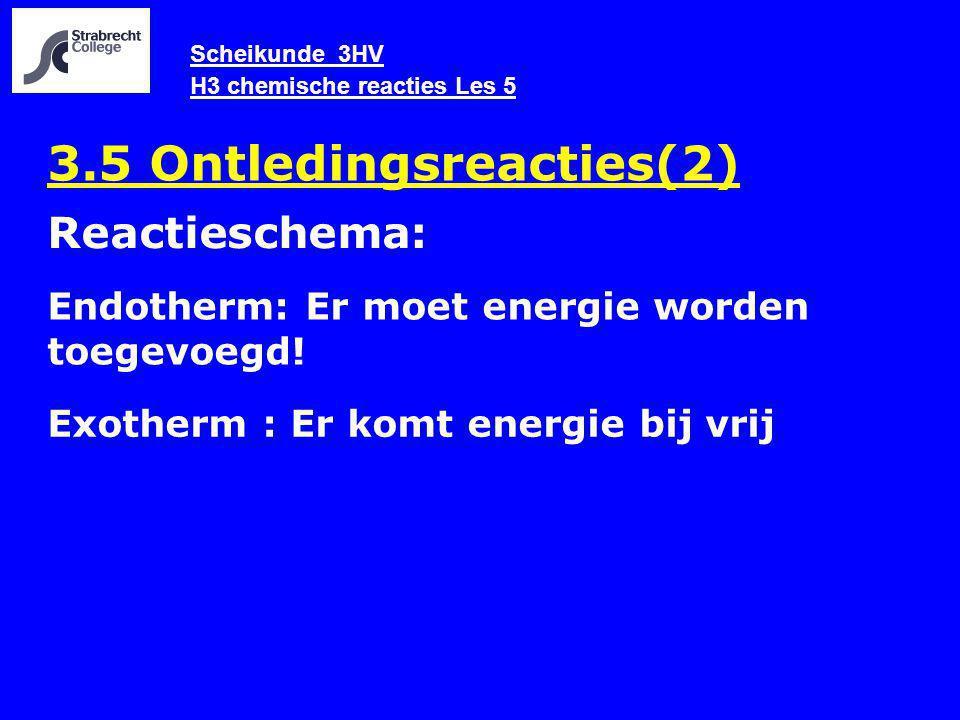 Scheikunde 3HV H3 chemische reacties Les 5 3.5 Ontledingsreacties(2) Endotherm: Er moet energie worden toegevoegd! Reactieschema: Exotherm : Er komt e