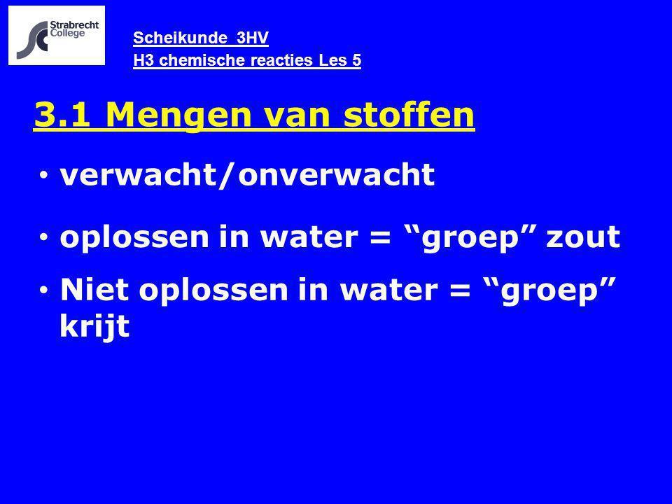 Scheikunde 3HV H3 chemische reacties Les 5 3.1 Mengen van stoffen verwacht/onverwacht oplossen in water = groep zout Niet oplossen in water = groep krijt