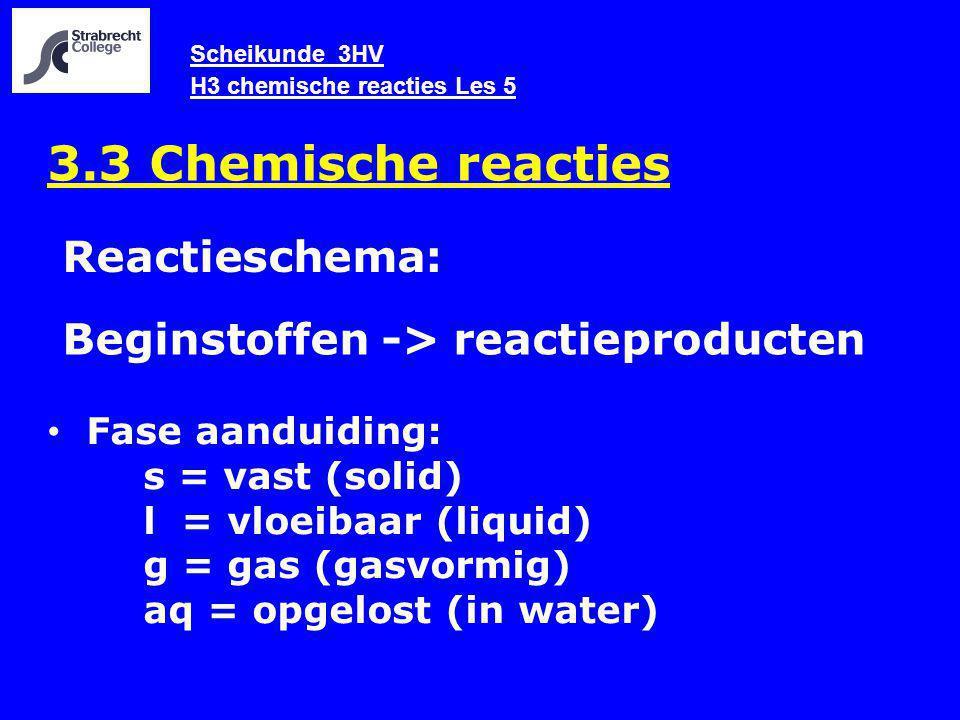 Scheikunde 3HV H3 chemische reacties Les 5 3.3 Chemische reacties Fase aanduiding: s = vast (solid) l = vloeibaar (liquid) g = gas (gasvormig) aq = opgelost (in water) Beginstoffen -> reactieproducten Reactieschema: