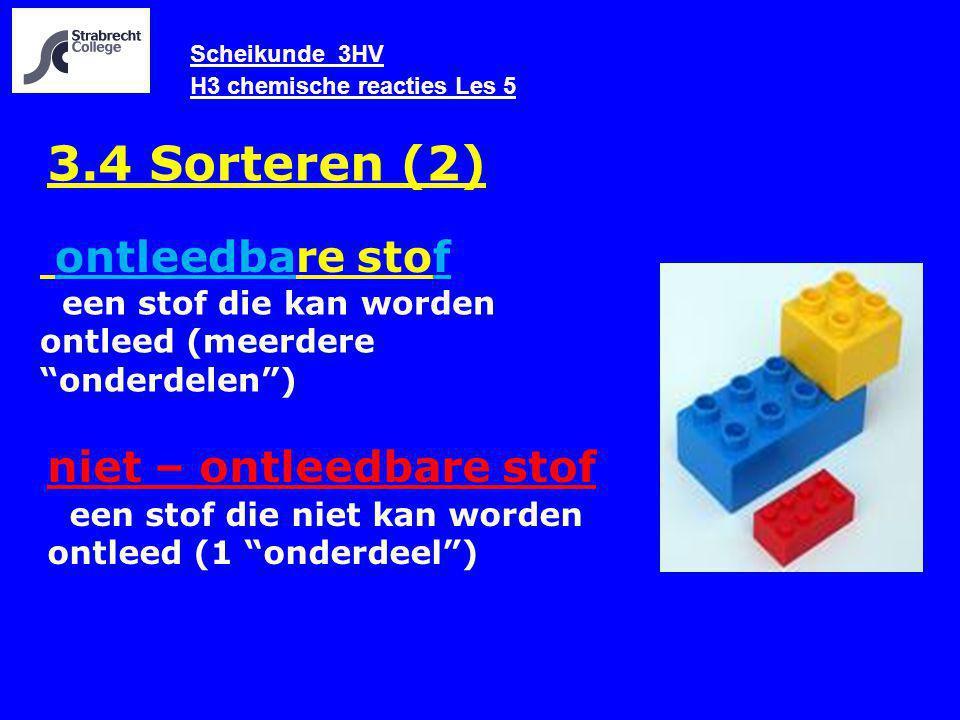 Scheikunde 3HV H3 chemische reacties Les 5 3.4 Sorteren (2) ontleedbare stof een stof die niet kan worden ontleed (1 onderdeel ) niet – ontleedbare stof een stof die kan worden ontleed (meerdere onderdelen )