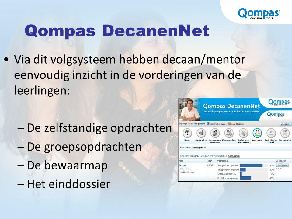 Qompas DecanenNet Via dit volgsysteem hebben decaan/mentor eenvoudig inzicht in de vorderingen van de leerlingen: –De zelfstandige opdrachten –De groe