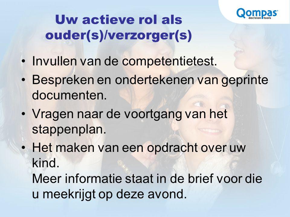 Uw actieve rol als ouder(s)/verzorger(s) Invullen van de competentietest. Bespreken en ondertekenen van geprinte documenten. Vragen naar de voortgang