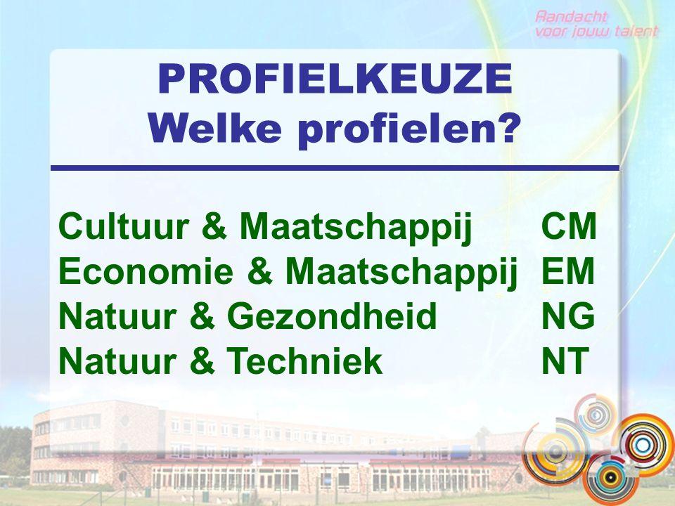 PROFIELKEUZE Welke profielen? Cultuur & Maatschappij CM Economie & Maatschappij EM Natuur & Gezondheid NG Natuur & Techniek NT