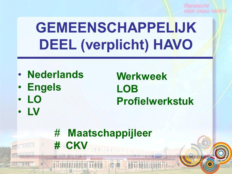 GEMEENSCHAPPELIJK DEEL (verplicht) HAVO Nederlands Engels LO LV Werkweek LOB Profielwerkstuk # Maatschappijleer # CKV