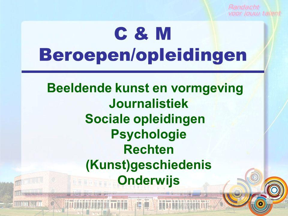 C & M Beroepen/opleidingen Beeldende kunst en vormgeving Journalistiek Sociale opleidingen Psychologie Rechten (Kunst)geschiedenis Onderwijs
