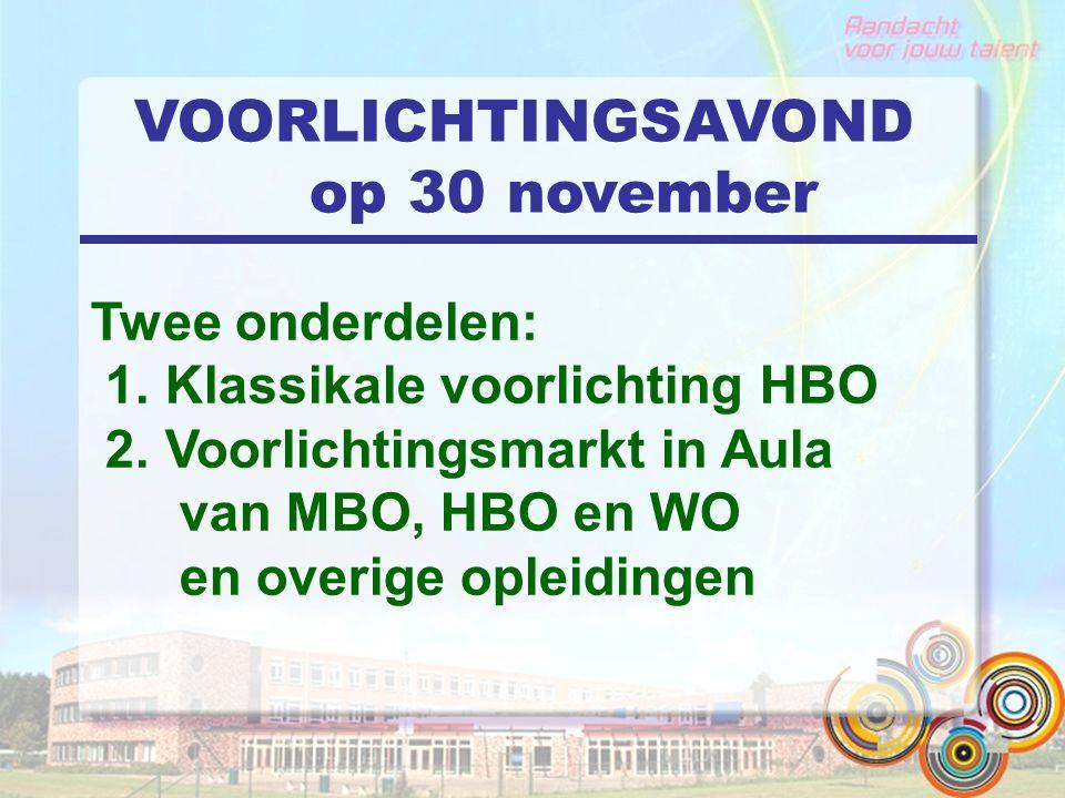 VOORLICHTINGSAVOND op 30 november Twee onderdelen: 1. Klassikale voorlichting HBO 2. Voorlichtingsmarkt in Aula van MBO, HBO en WO en overige opleidin