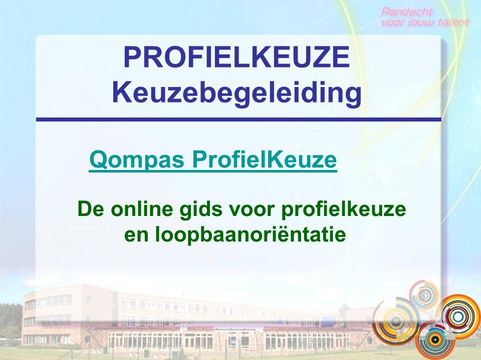 PROFIELKEUZE Keuzebegeleiding Qompas ProfielKeuze Qompas ProfielKeuze De online gids voor profielkeuze en loopbaanoriëntatie