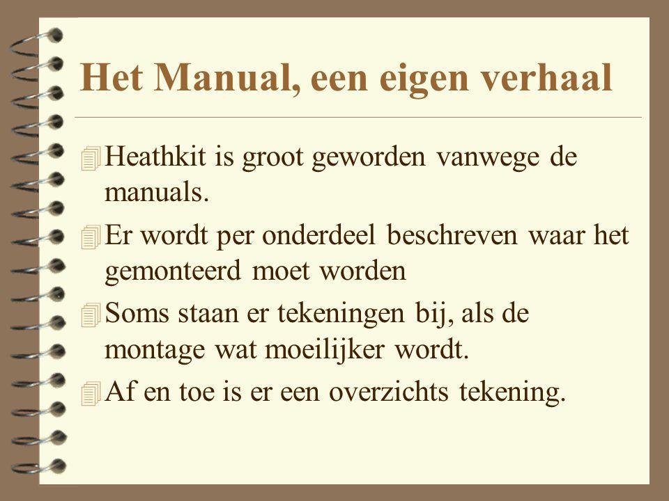 Het Manual, een eigen verhaal 4 Heathkit is groot geworden vanwege de manuals. 4 Er wordt per onderdeel beschreven waar het gemonteerd moet worden 4 S