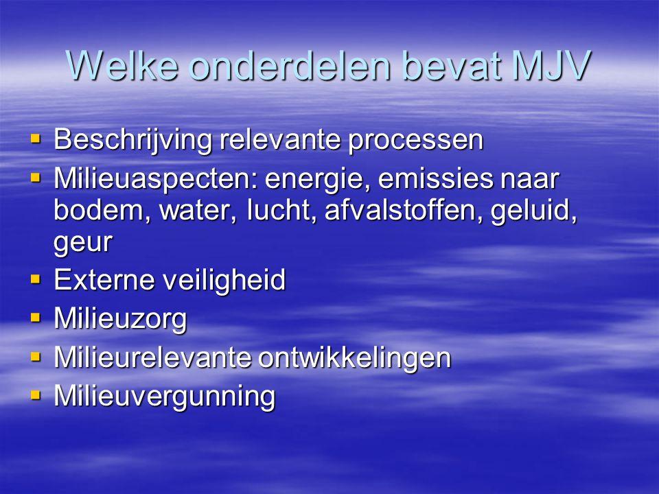Welke onderdelen bevat MJV  Beschrijving relevante processen  Milieuaspecten: energie, emissies naar bodem, water, lucht, afvalstoffen, geluid, geur
