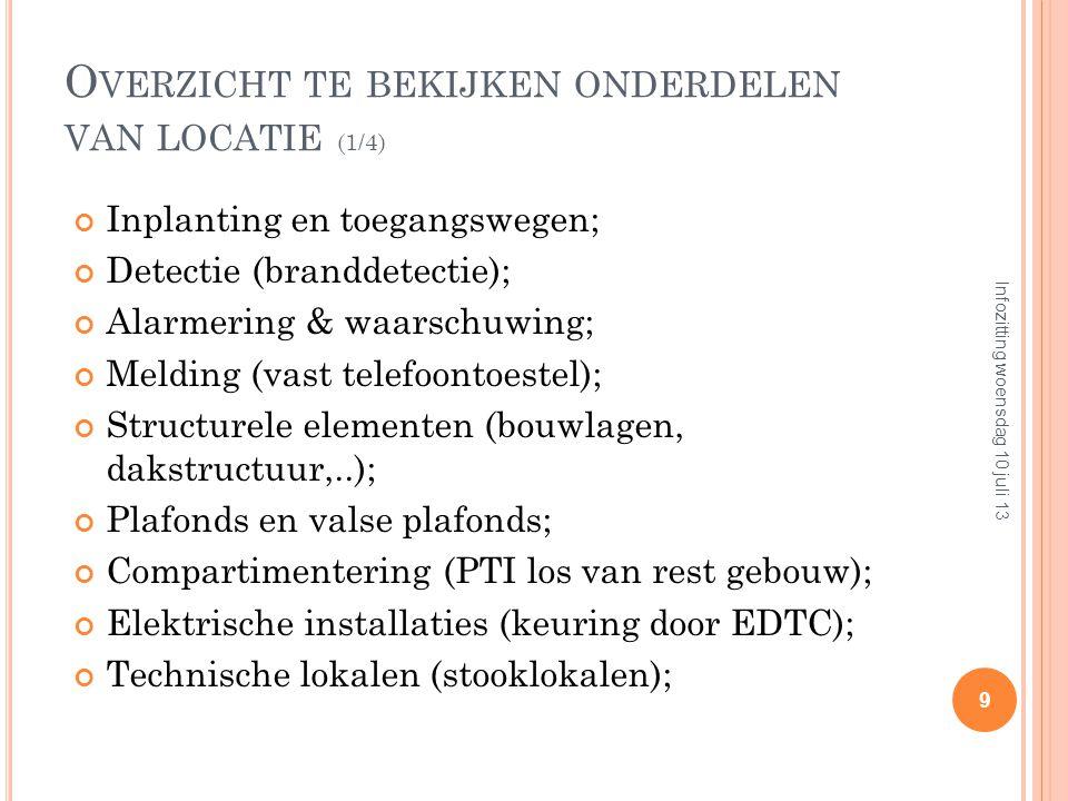 O VERZICHT TE BEKIJKEN ONDERDELEN VAN LOCATIE (1/4) Inplanting en toegangswegen; Detectie (branddetectie); Alarmering & waarschuwing; Melding (vast telefoontoestel); Structurele elementen (bouwlagen, dakstructuur,..); Plafonds en valse plafonds; Compartimentering (PTI los van rest gebouw); Elektrische installaties (keuring door EDTC); Technische lokalen (stooklokalen); 9 Infozitting woensdag 10 juli 13
