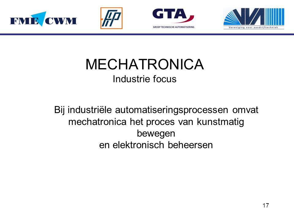 17 MECHATRONICA Industrie focus Bij industriële automatiseringsprocessen omvat mechatronica het proces van kunstmatig bewegen en elektronisch beheerse