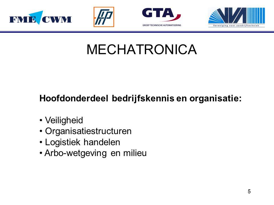 5 MECHATRONICA Hoofdonderdeel bedrijfskennis en organisatie: Veiligheid Organisatiestructuren Logistiek handelen Arbo-wetgeving en milieu