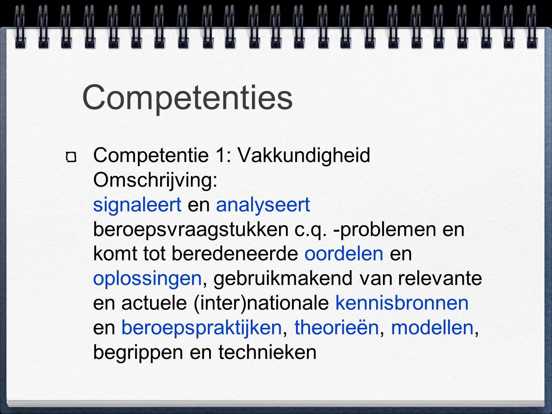 Competenties Competentie 1: Vakkundigheid Omschrijving: signaleert en analyseert beroepsvraagstukken c.q.
