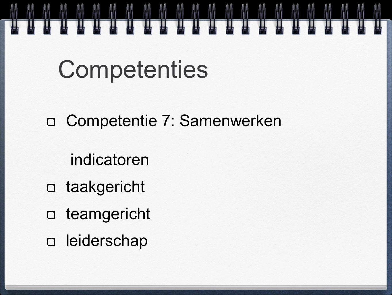 Competenties Competentie 7: Samenwerken indicatoren taakgericht teamgericht leiderschap