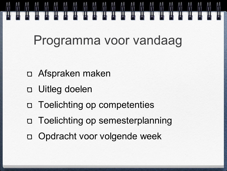Programma voor vandaag Afspraken maken Uitleg doelen Toelichting op competenties Toelichting op semesterplanning Opdracht voor volgende week