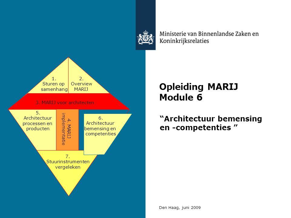 """Opleiding MARIJ Module 6 """"Architectuur bemensing en -competenties """" Den Haag, juni 2009 3. MARIJ voor architecten 5. Architectuur processen en product"""