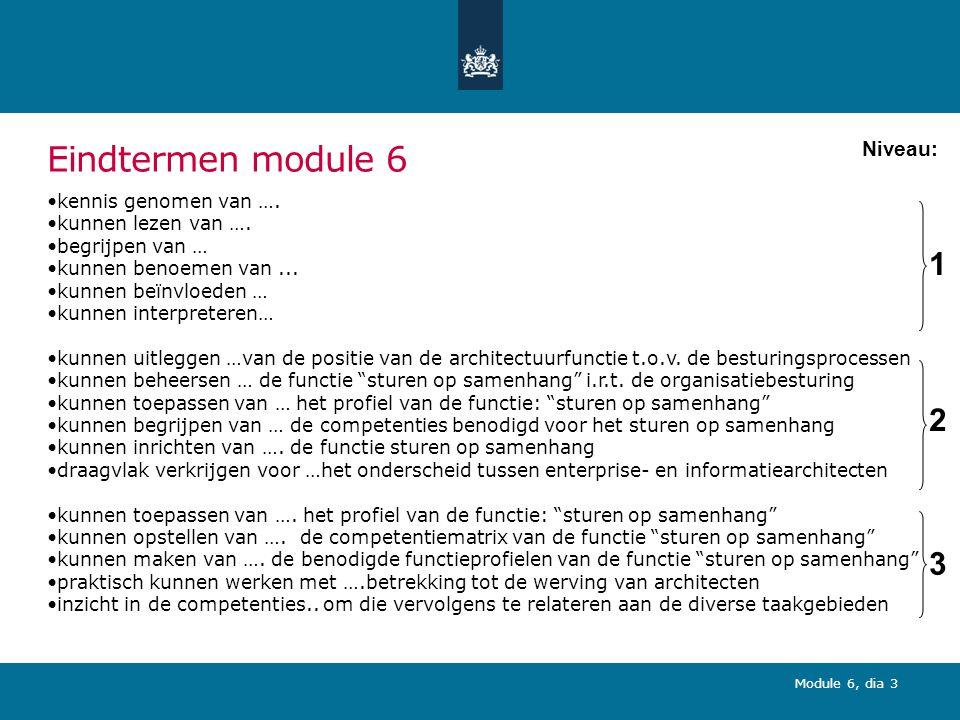 Module 6, dia 4 Onderdelen module 6 (leerdoelniveau 2,3; 2 uur) 1.Onderdelen architectuurfunctie: mensen 2.Rol architectuurfunctie in de organisatie 3.Competenties architectuurfunctie 4.Taakgebieden architectuurfunctie 5.Competentieprofiel architectuurfunctie 6.Architectuurrollen 7.Conclusies en aanbevelingen 8.Wat ga ik vanmiddag hier mee doen?