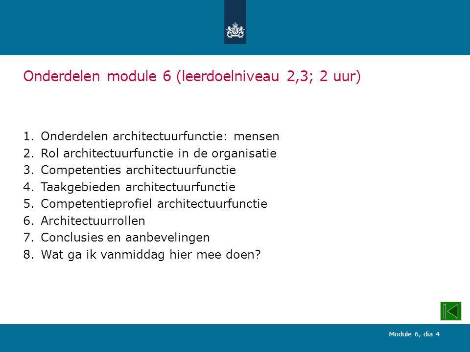 Module 6, dia 4 Onderdelen module 6 (leerdoelniveau 2,3; 2 uur) 1.Onderdelen architectuurfunctie: mensen 2.Rol architectuurfunctie in de organisatie 3