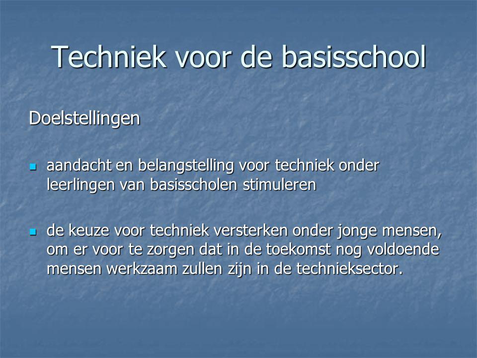 Techniek voor de basisschool Doelstellingen aandacht en belangstelling voor techniek onder leerlingen van basisscholen stimuleren aandacht en belangst