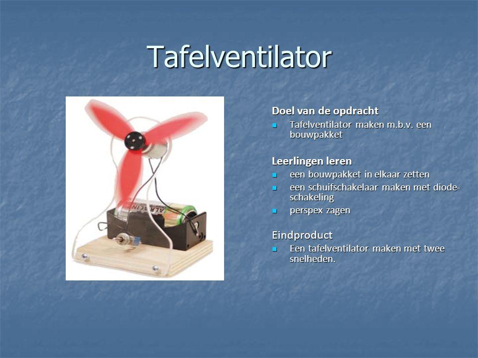 Tafelventilator Doel van de opdracht Tafelventilator maken m.b.v. een bouwpakket Tafelventilator maken m.b.v. een bouwpakket Leerlingen leren een bouw