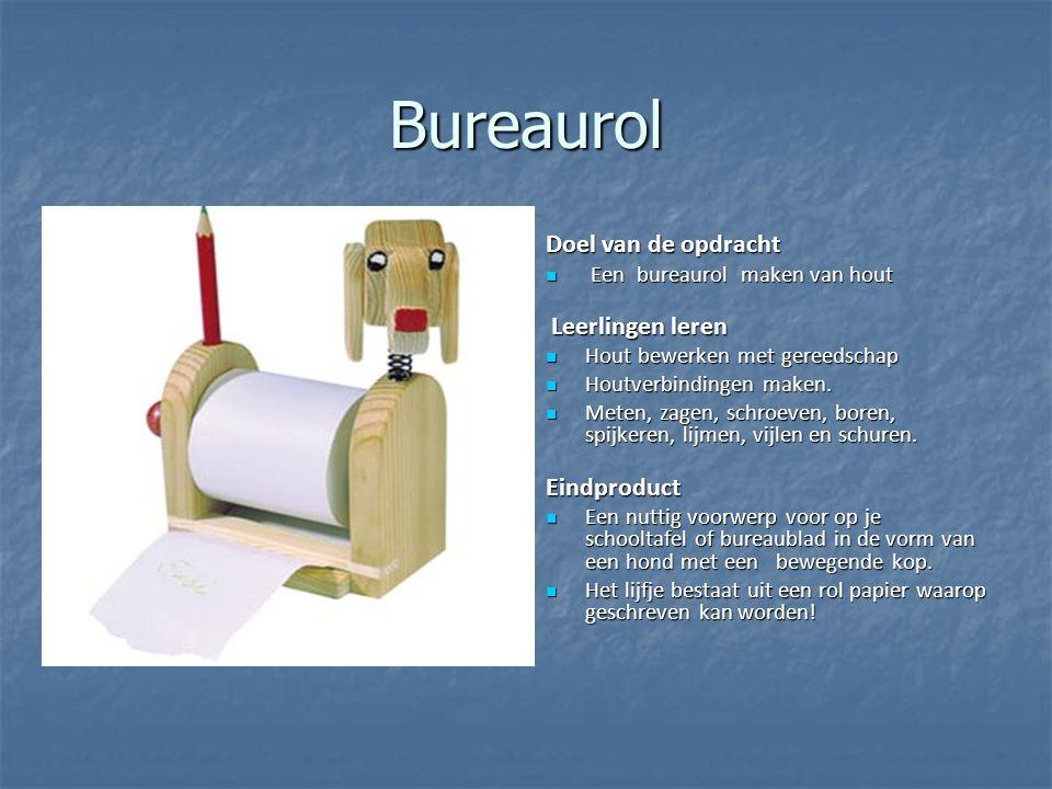 Bureaurol Doel van de opdracht Een bureaurol maken van hout Een bureaurol maken van hout Leerlingen leren Leerlingen leren Hout bewerken met gereedsch