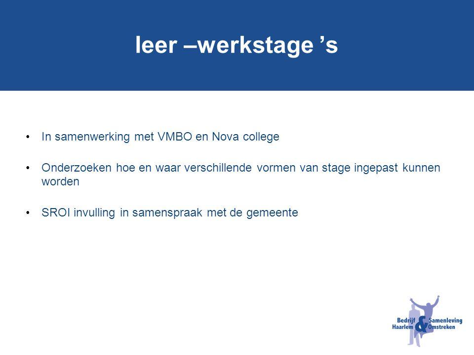 leer –werkstage 's In samenwerking met VMBO en Nova college Onderzoeken hoe en waar verschillende vormen van stage ingepast kunnen worden SROI invulli