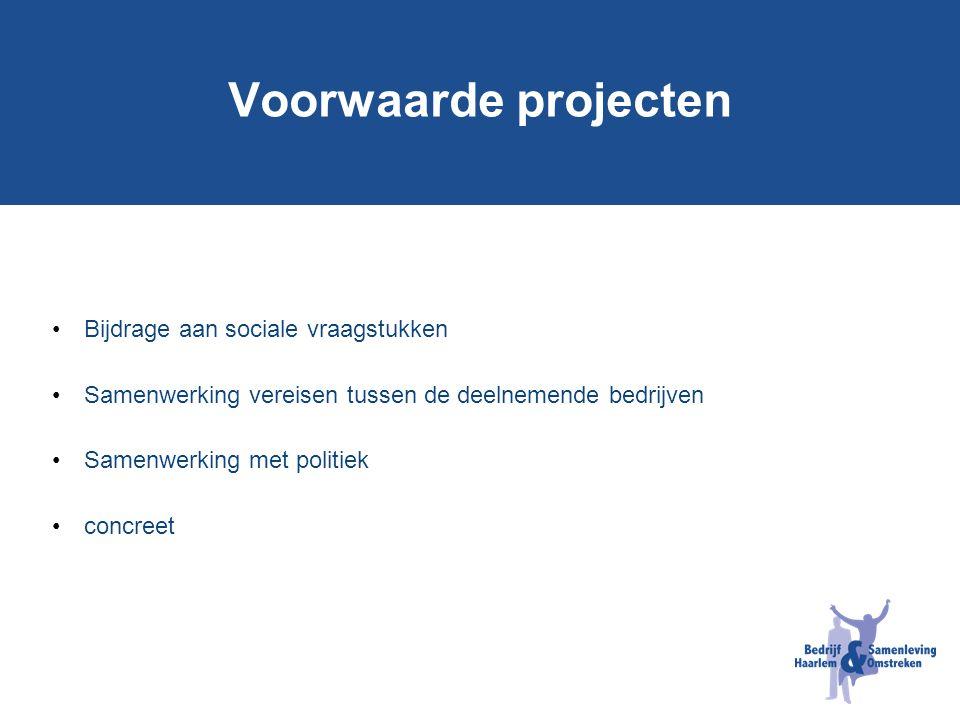 Voorwaarde projecten Bijdrage aan sociale vraagstukken Samenwerking vereisen tussen de deelnemende bedrijven Samenwerking met politiek concreet