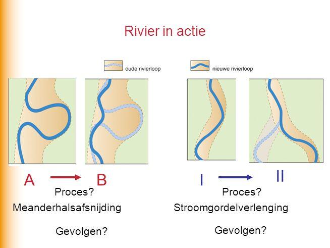 Rivier in actie ABI II Proces? Meanderhalsafsnijding Proces? Stroomgordelverlenging Gevolgen?