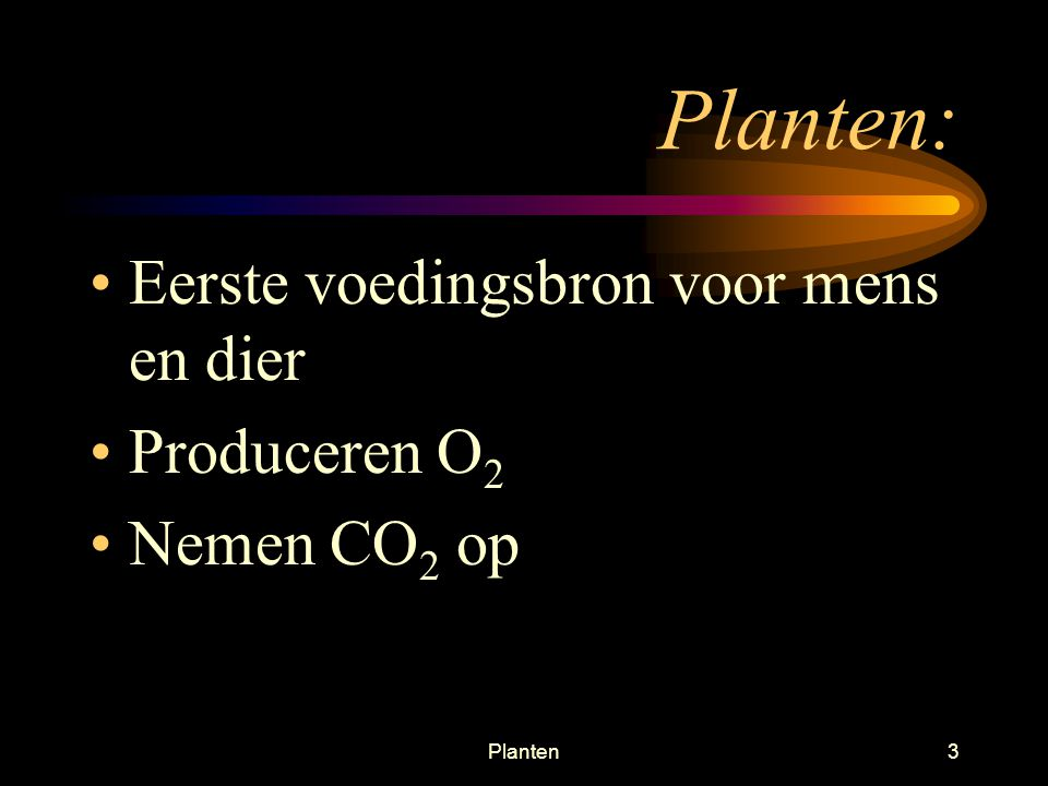 Planten3 Planten: Eerste voedingsbron voor mens en dier Produceren O 2 Nemen CO 2 op