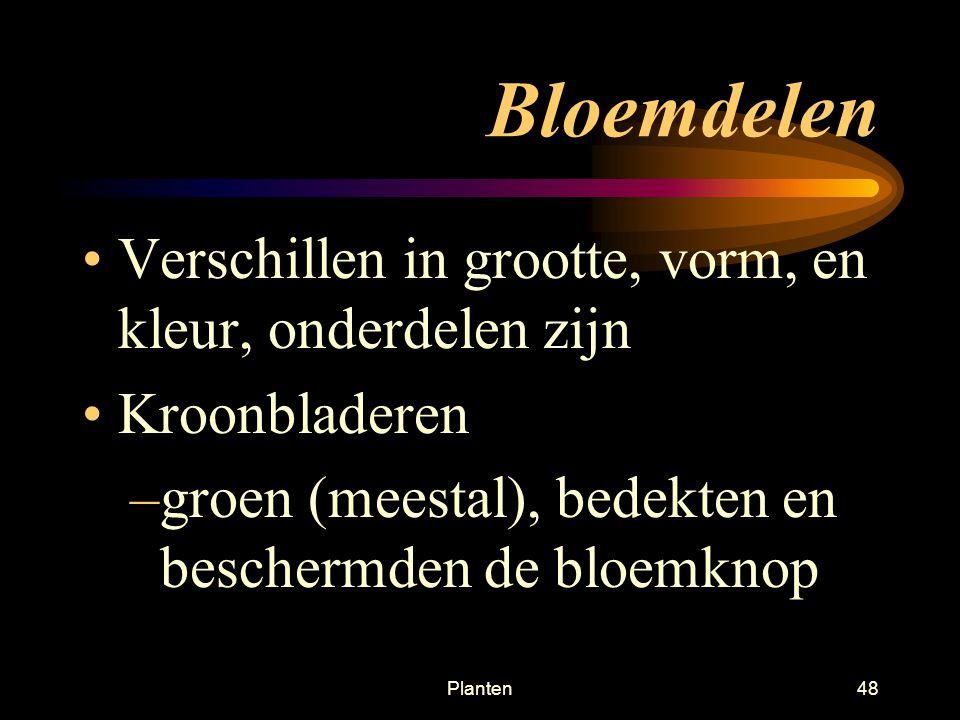 Planten47 Bloem, vrucht, en zaad Bloem is vaak ♂ en ♀ –♀ bloem levert zaad –♂ bloem levert stuifmeel –Zaden bevatten veel reservestoffen voor het embryo.
