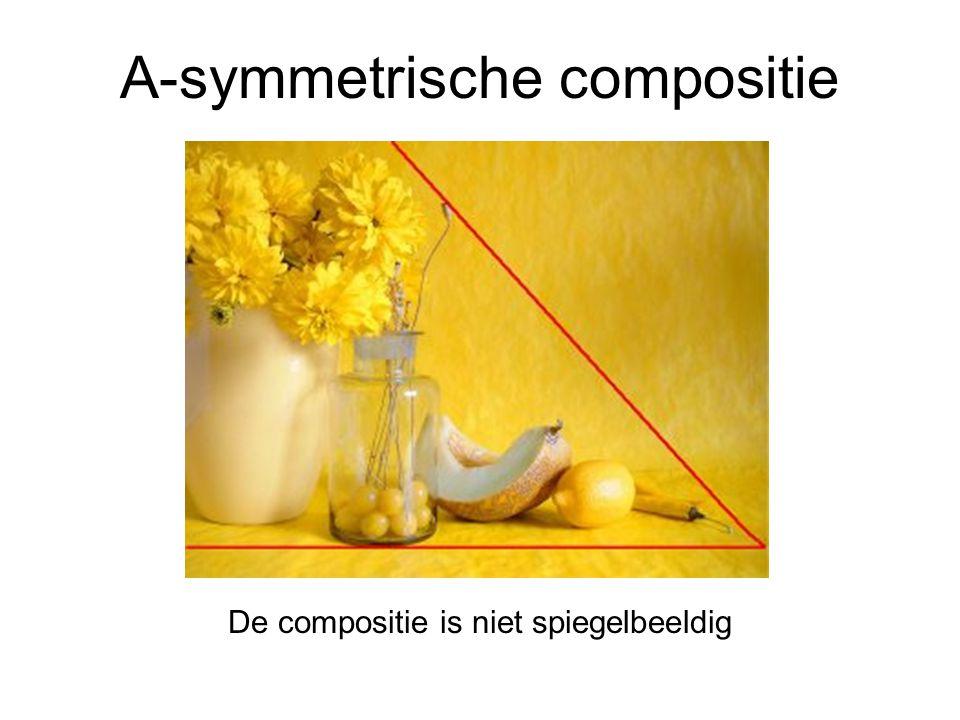 A-symmetrische compositie De compositie is niet spiegelbeeldig