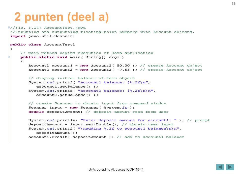 UvA, opleiding AI, cursus IOOP 10-11 11 2 punten (deel a)