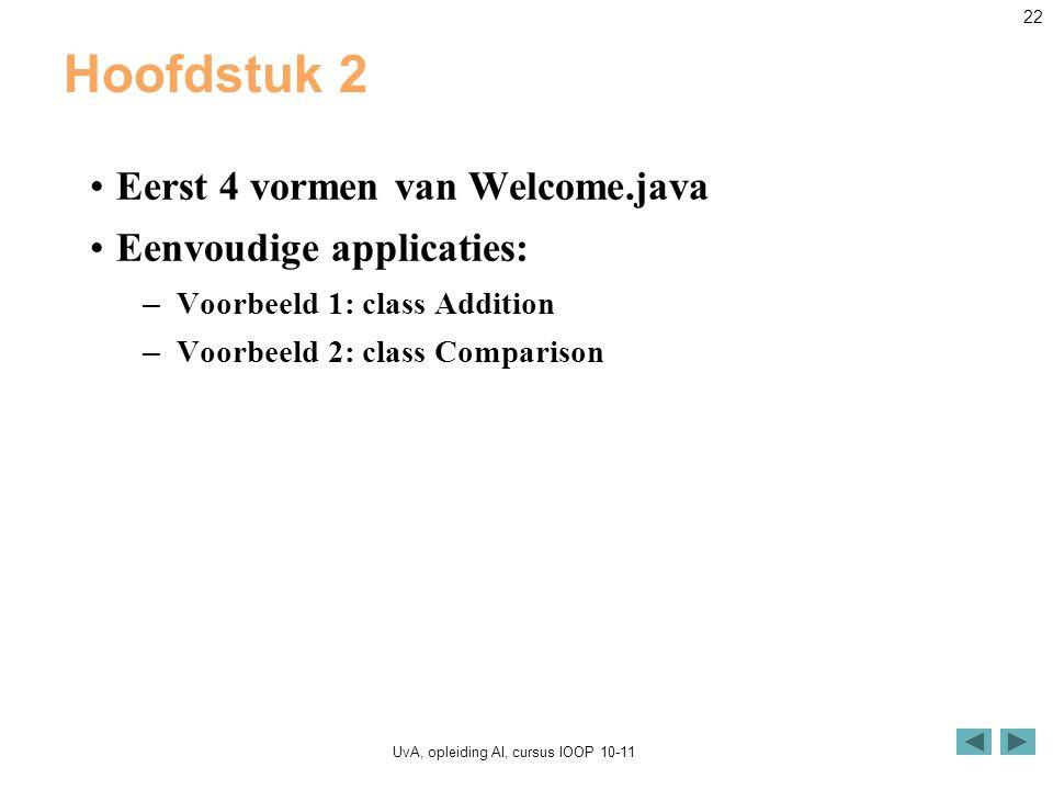 UvA, opleiding AI, cursus IOOP 10-11 22 Hoofdstuk 2 Eerst 4 vormen van Welcome.java Eenvoudige applicaties: – Voorbeeld 1: class Addition – Voorbeeld