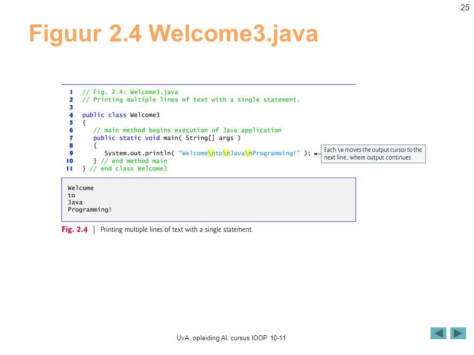 UvA, opleiding AI, cursus IOOP 10-11 25 Figuur 2.4 Welcome3.java