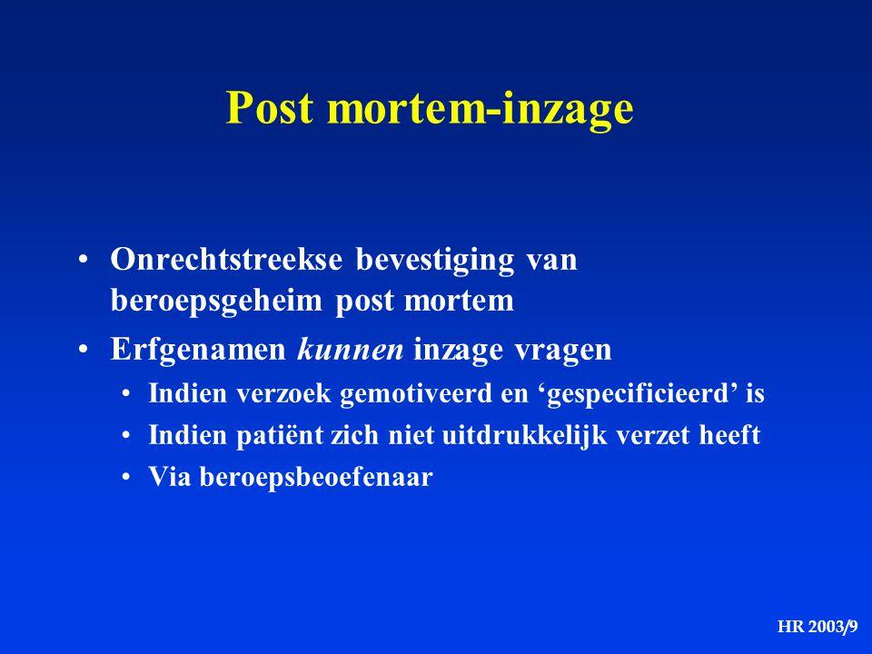 HR 2003/9 Post mortem-inzage Onrechtstreekse bevestiging van beroepsgeheim post mortem Erfgenamen kunnen inzage vragen Indien verzoek gemotiveerd en '
