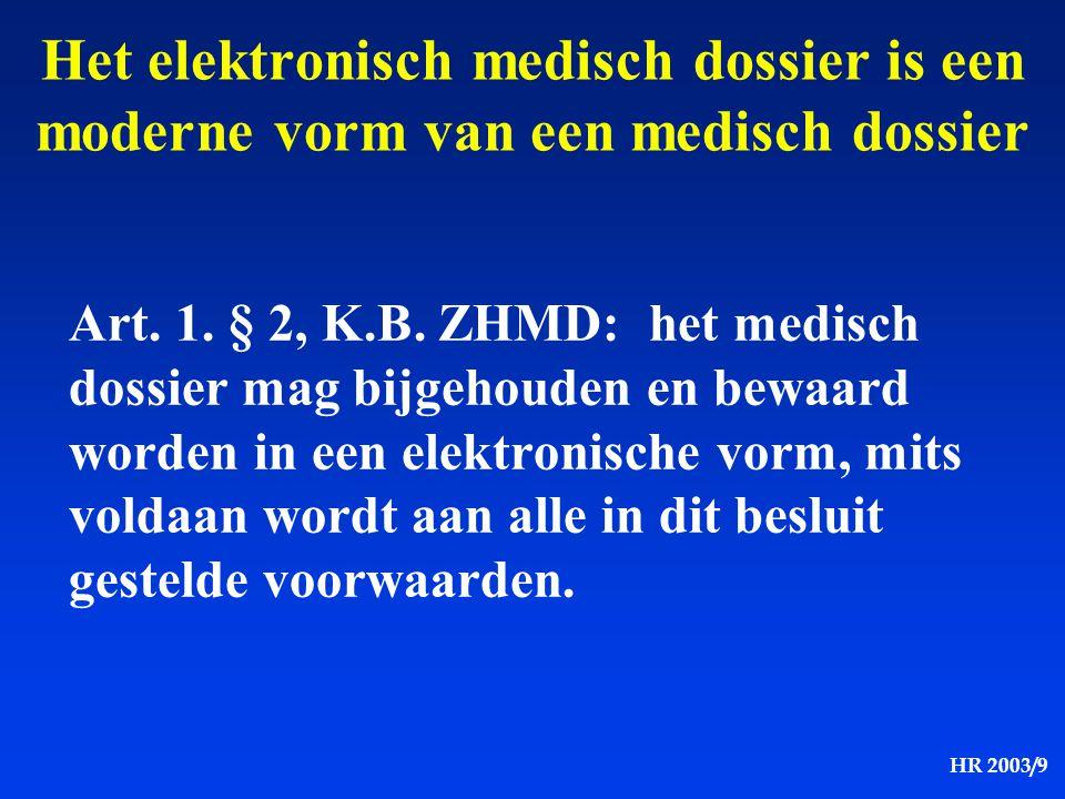 HR 2003/9 Het elektronisch medisch dossier is een moderne vorm van een medisch dossier Art. 1. § 2, K.B. ZHMD: het medisch dossier mag bijgehouden en