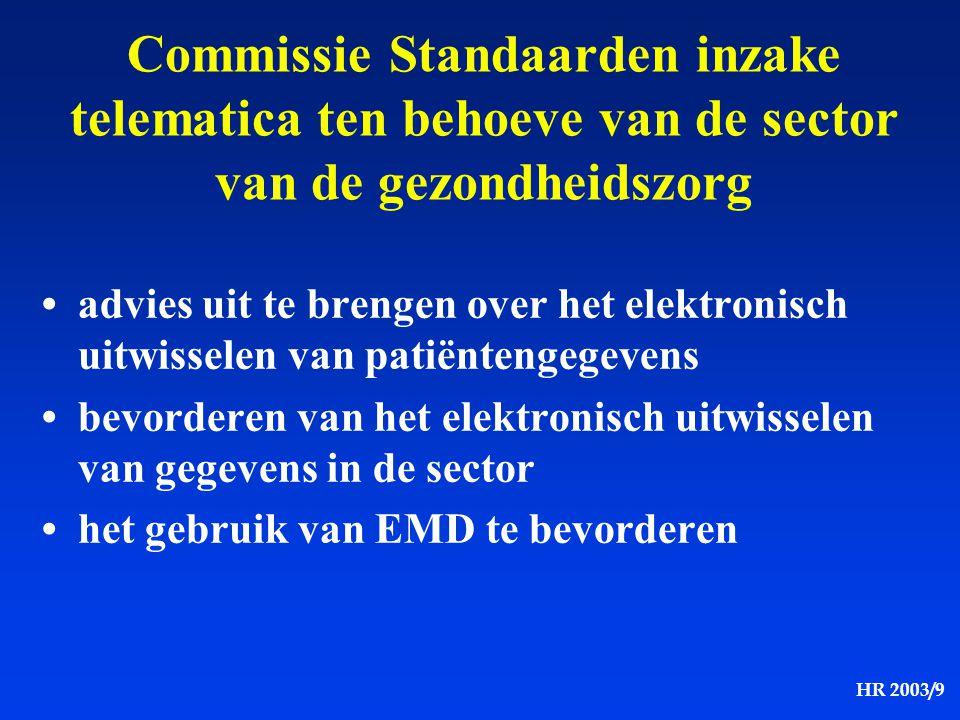 HR 2003/9 Commissie Standaarden inzake telematica ten behoeve van de sector van de gezondheidszorg advies uit te brengen over het elektronisch uitwiss