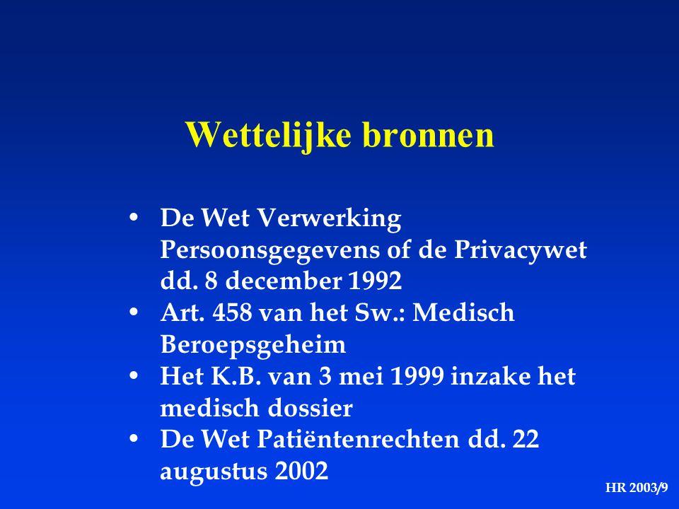 HR 2003/9 Wettelijke bronnen De Wet Verwerking Persoonsgegevens of de Privacywet dd. 8 december 1992 Art. 458 van het Sw.: Medisch Beroepsgeheim Het K