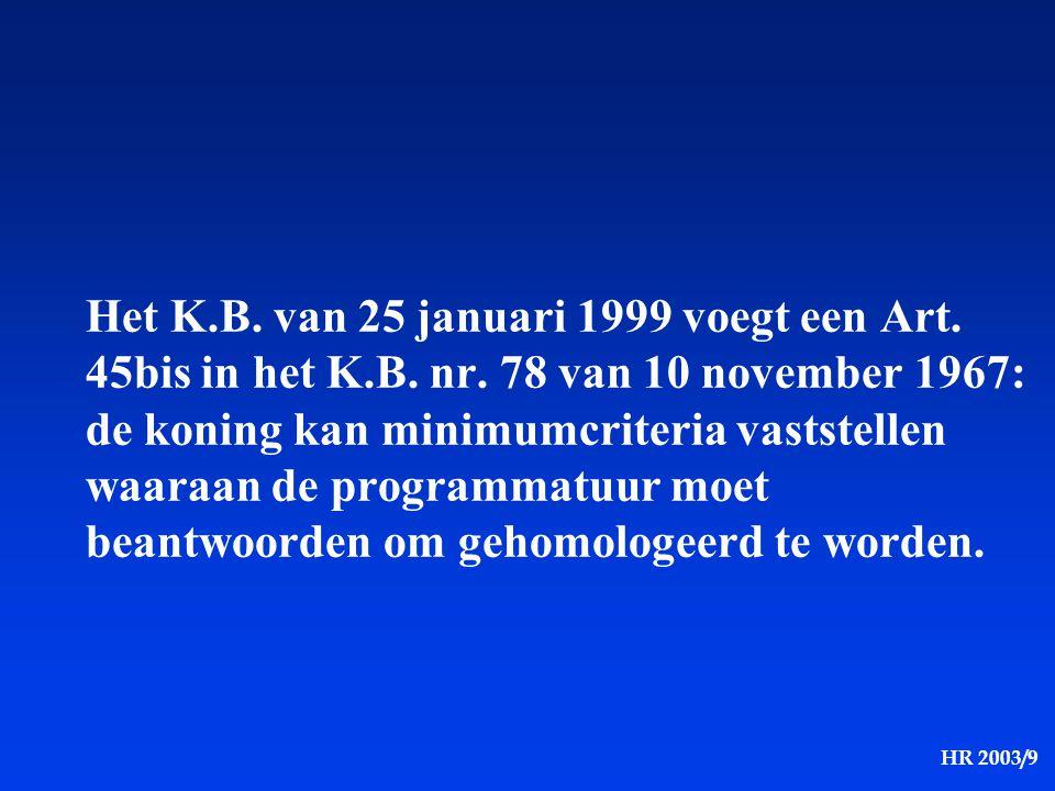 HR 2003/9 Het K.B. van 25 januari 1999 voegt een Art. 45bis in het K.B. nr. 78 van 10 november 1967: de koning kan minimumcriteria vaststellen waaraan