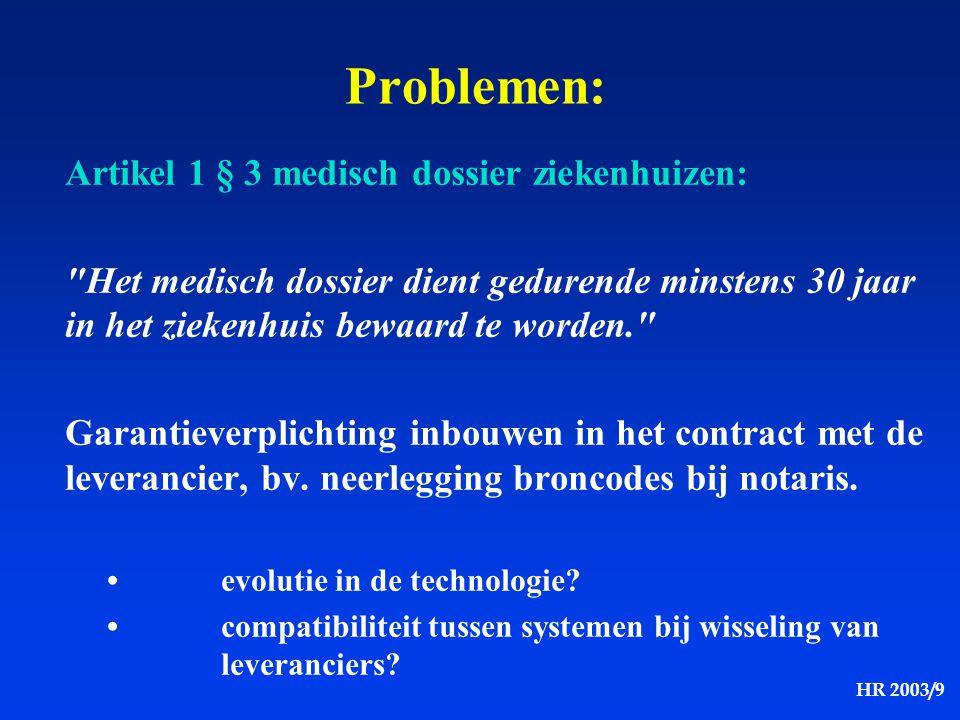 HR 2003/9 Artikel 1 § 3 medisch dossier ziekenhuizen: