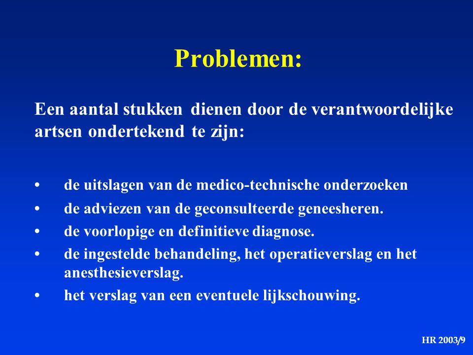 HR 2003/9 Een aantal stukken dienen door de verantwoordelijke artsen ondertekend te zijn: de uitslagen van de medico-technische onderzoeken de advieze