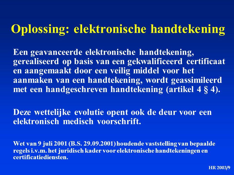HR 2003/9 Een geavanceerde elektronische handtekening, gerealiseerd op basis van een gekwalificeerd certificaat en aangemaakt door een veilig middel v
