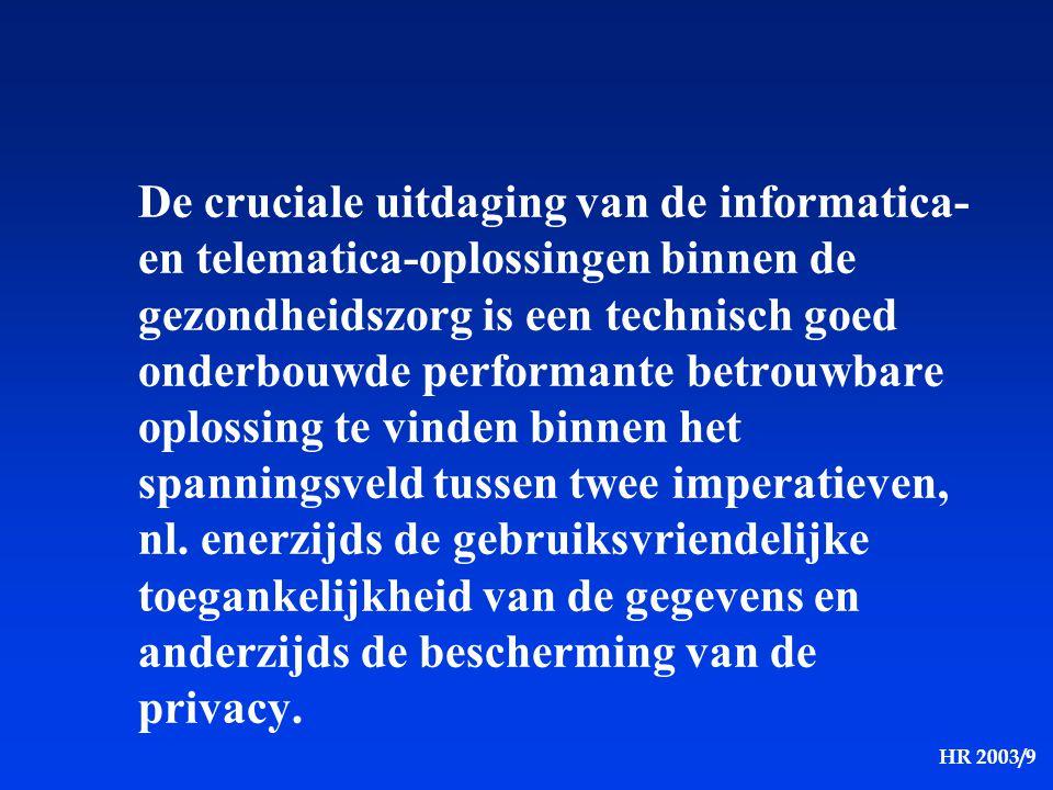 HR 2003/9 De cruciale uitdaging van de informatica- en telematica-oplossingen binnen de gezondheidszorg is een technisch goed onderbouwde performante