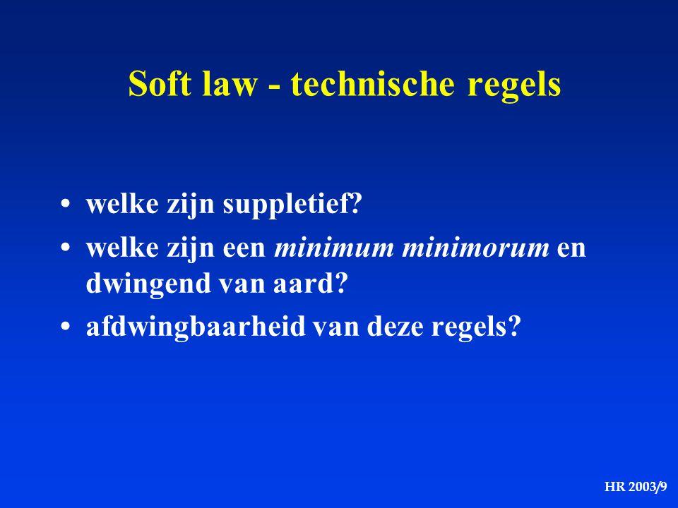 HR 2003/9 Soft law - technische regels welke zijn suppletief? welke zijn een minimum minimorum en dwingend van aard? afdwingbaarheid van deze regels?