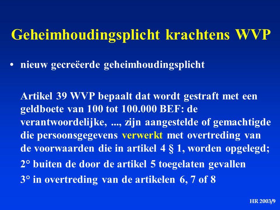 HR 2003/9 Geheimhoudingsplicht krachtens WVP nieuw gecreëerde geheimhoudingsplicht Artikel 39 WVP bepaalt dat wordt gestraft met een geldboete van 100