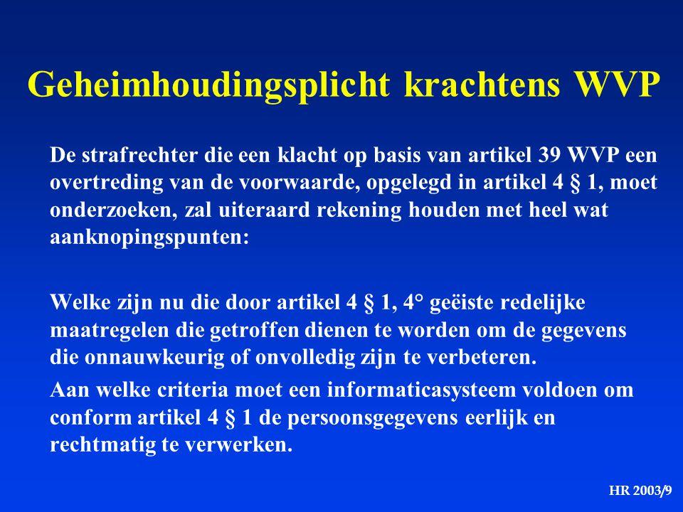 HR 2003/9 De strafrechter die een klacht op basis van artikel 39 WVP een overtreding van de voorwaarde, opgelegd in artikel 4 § 1, moet onderzoeken, z