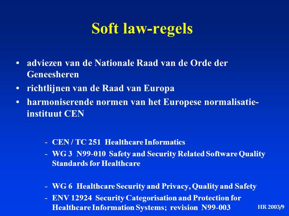 HR 2003/9 Soft law-regels adviezen van de Nationale Raad van de Orde der Geneesheren richtlijnen van de Raad van Europa harmoniserende normen van het