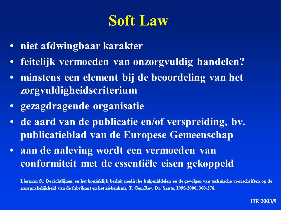 HR 2003/9 Soft Law niet afdwingbaar karakter feitelijk vermoeden van onzorgvuldig handelen? minstens een element bij de beoordeling van het zorgvuldig